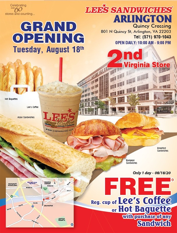 Congratulations on 2nd store in Virginia! OPEN NOW with FREE Lee's Coffee or Hot Baguette, only 08/18/20