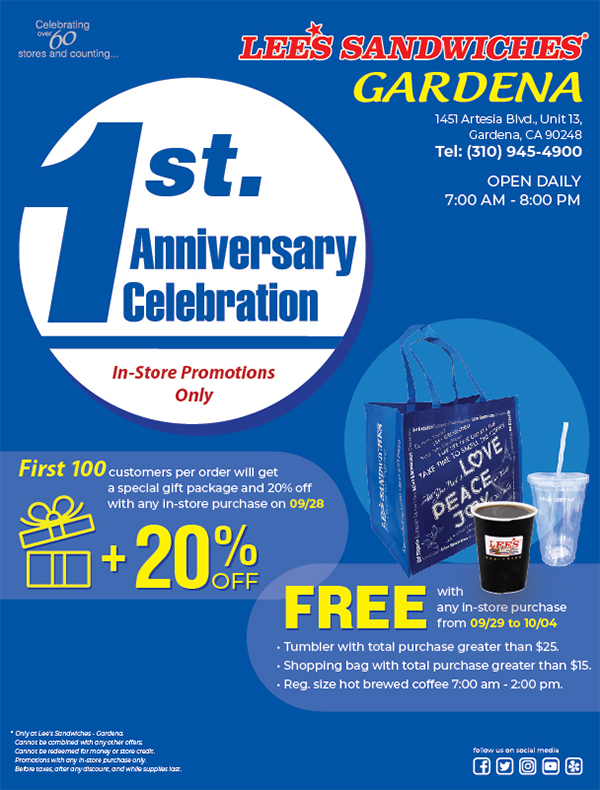 Happy 1st Anniversary of Gardena, whole week special PROMOTION & GIFTS! Only at Gardena, from 09/28 - 10/04
