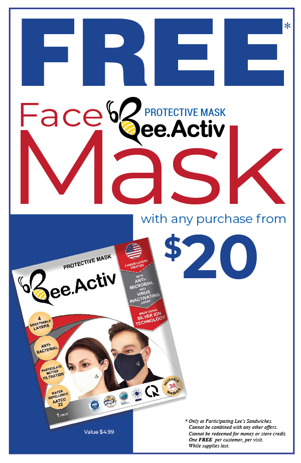 FREE 01 BEESAFE FaceMask with any purchase from $20. Start from 10/28/20. Limited time. While supplies last