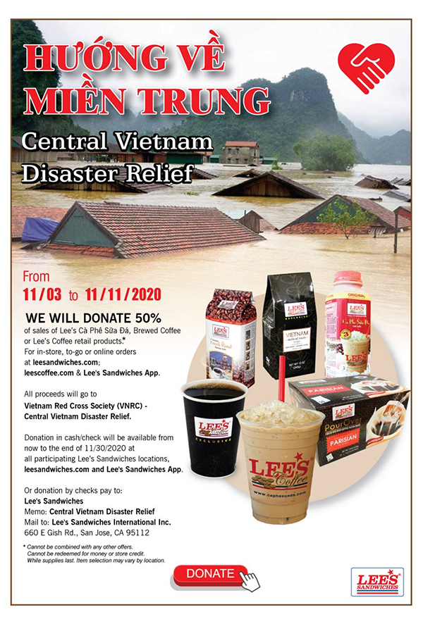 Hướng Về Miền Trung – Central Vietnam Disaster Relief. From 11/03 – 11/11, WE WILL DONATE 50%of sale