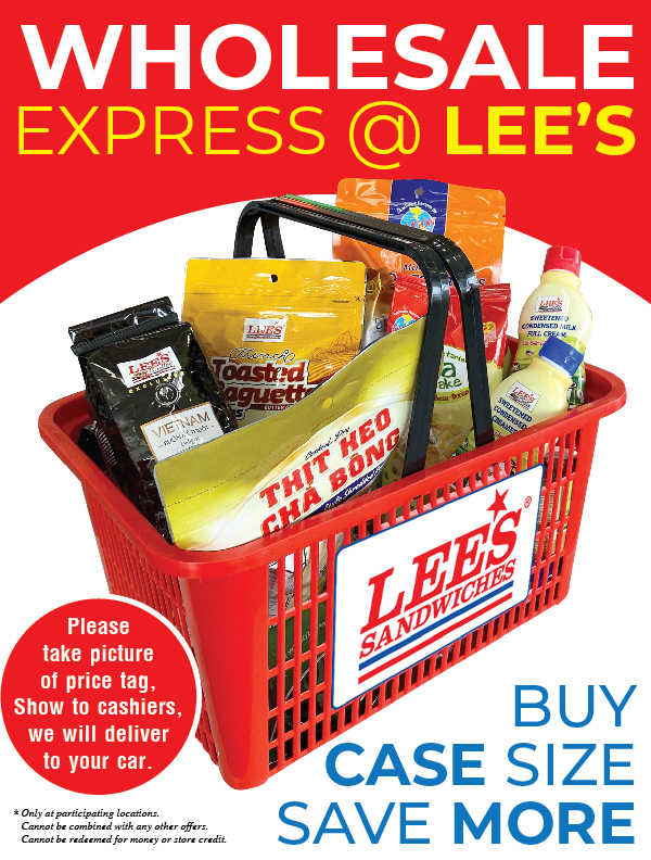 Wholesale Express @Lee's Sandwiches! Buy case size, SAVE MORE!