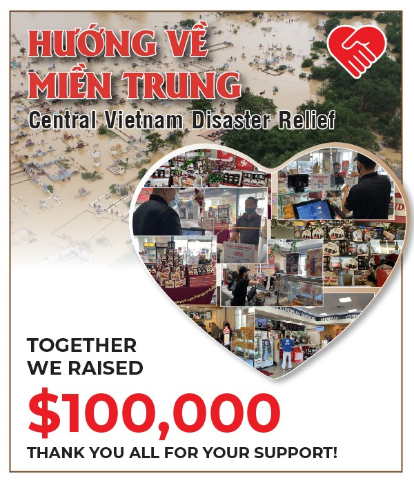 Together we raised $100,000 for Central Vietnam Disaster Relief. Thank you all!