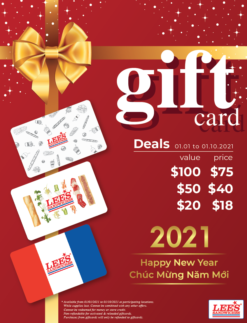 Gifting your loved ones with our New Year Gift Card special deals!