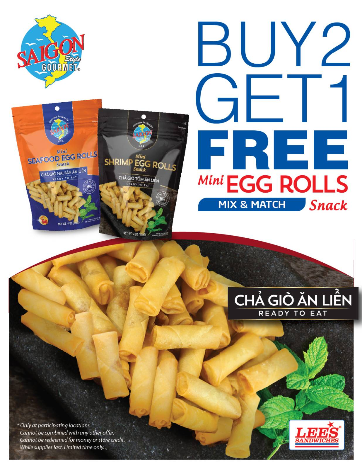 Buy 2 Get 1 Mini Egg-rolls from 3/15/2021