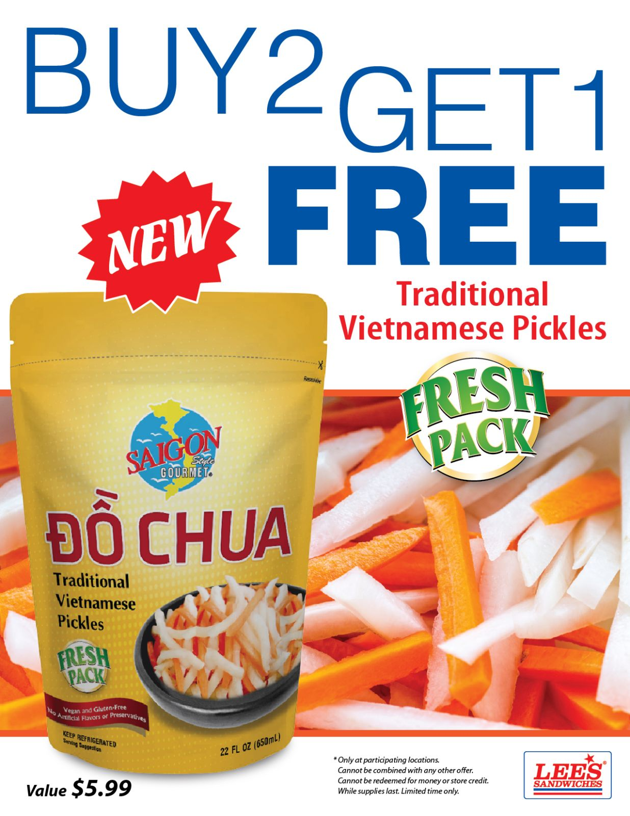 B2G1 Free Traditional Vietnamese Pickles from 3/25/2021!