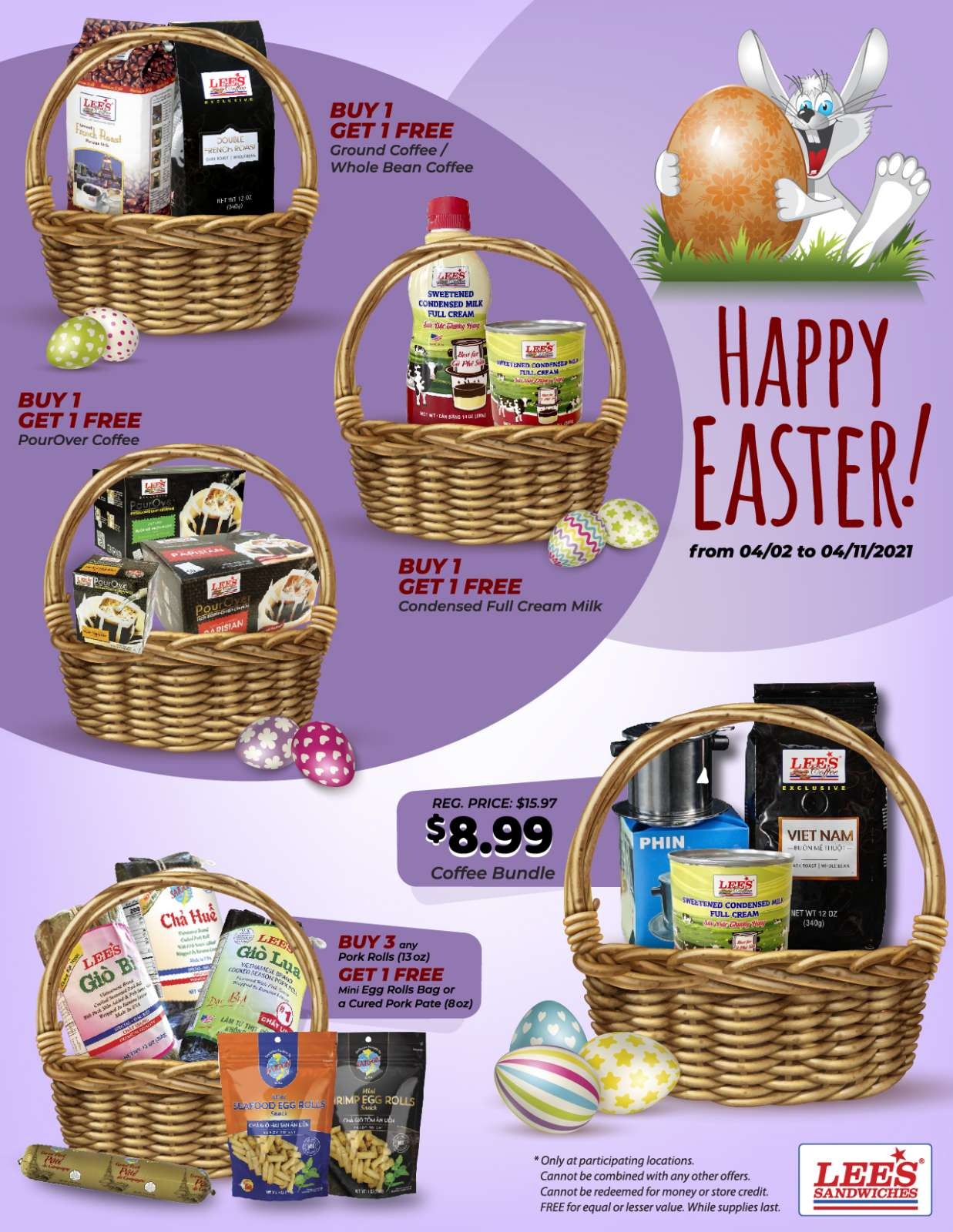 Happy Easter Promotion only from 4/2 to 4/11/2021!