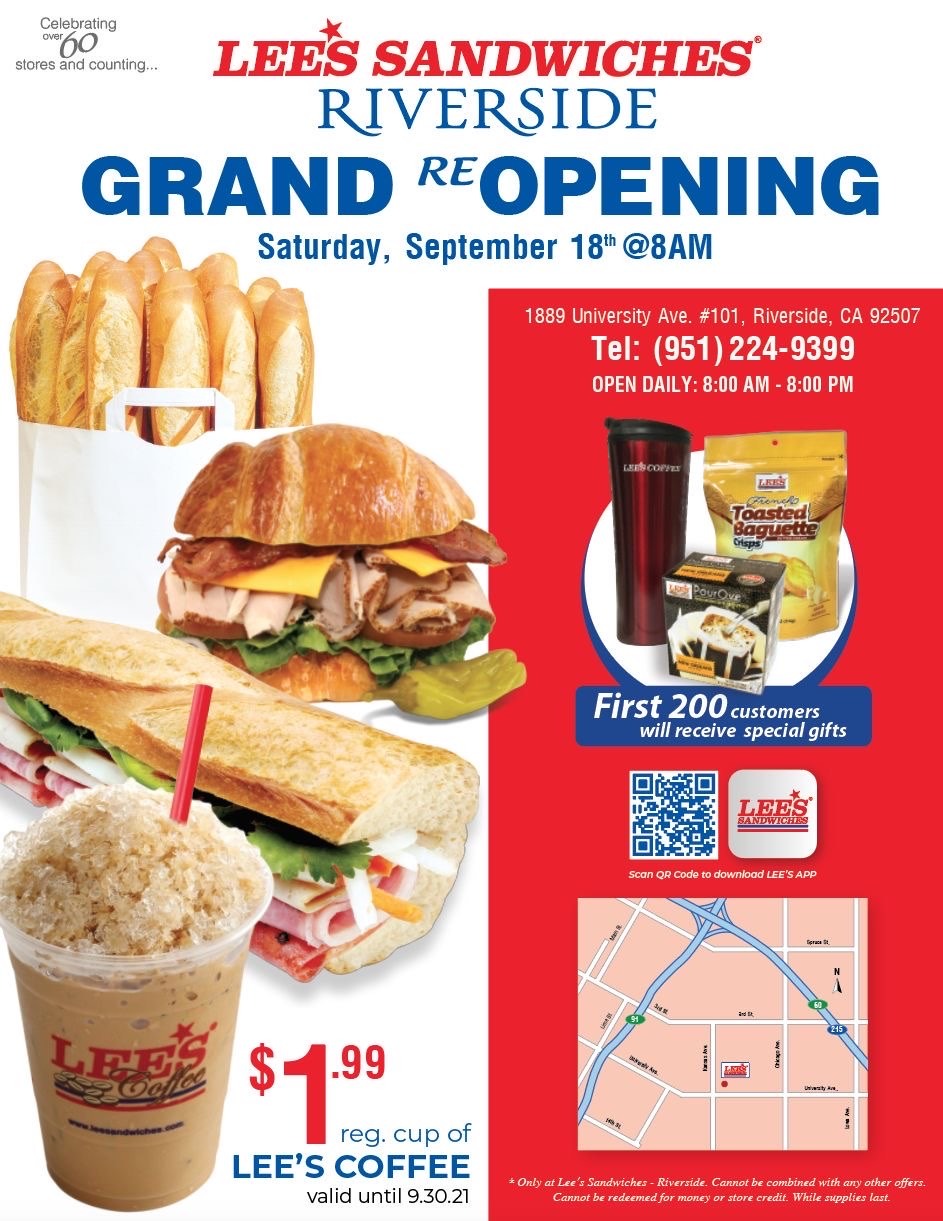 Riverside Grand ReOpening – 200 special gifts & $1.99 reg. Lee's Coffee